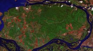 Карта Самарской Луки с контрастом дорожной сети