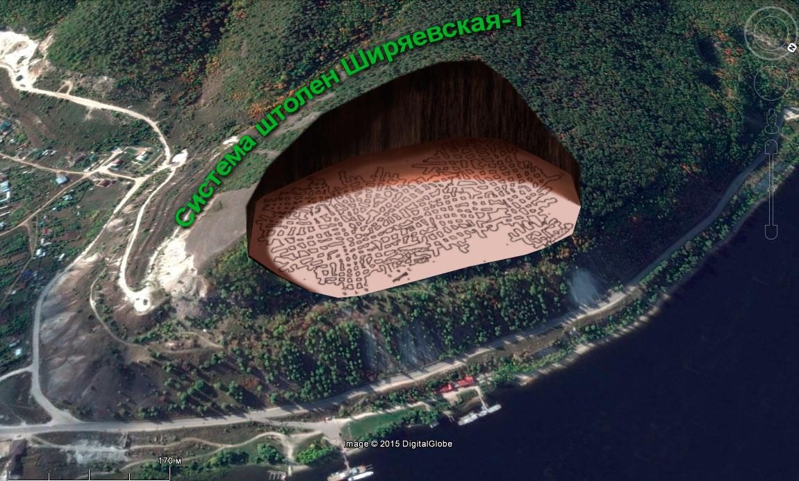 Схема штолен Поповой горы «Ширяевская 1»