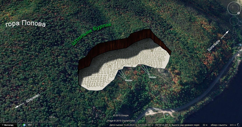 Карта-схема штолен «Бурлак»