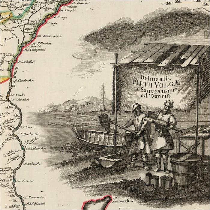 Старинная карта Самарской Луки (в иностранном и русском варианте)