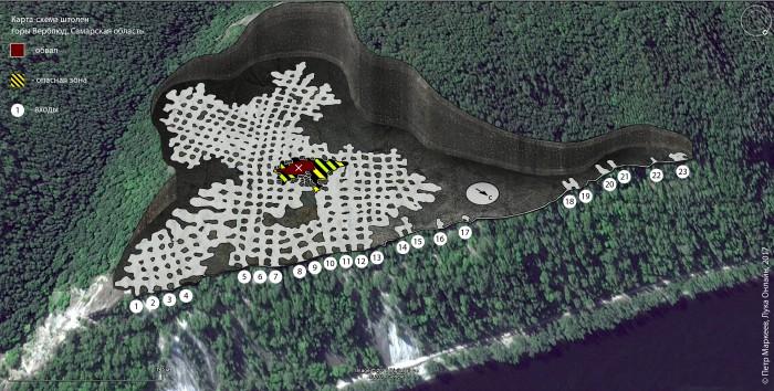 Карта, схема штолен горы Верблюд, улучшенная версия