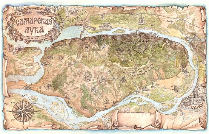 Стилизованная карта Самарской Луки выложена в открытый доступ