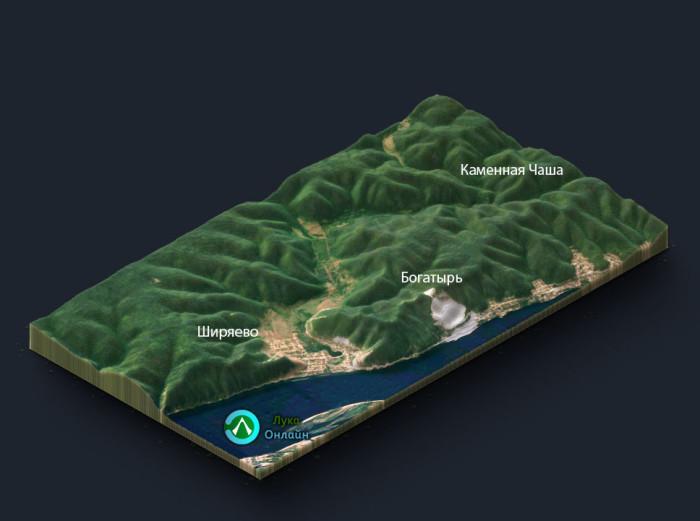 3D-модель района Ширяево, Богатырь, Солнечная Поляна, Каменная Чаша